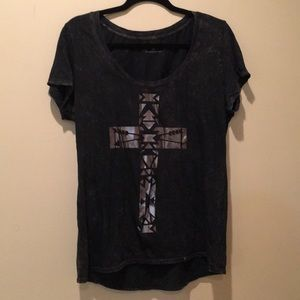 Grey Metallic Cross Tee